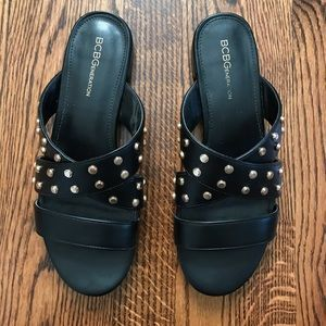 ⭐️ BCBG Black and Gold Studded Sandals ⭐️